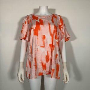 DKNY Top Blouse Multicolor Orange Tee Sz L